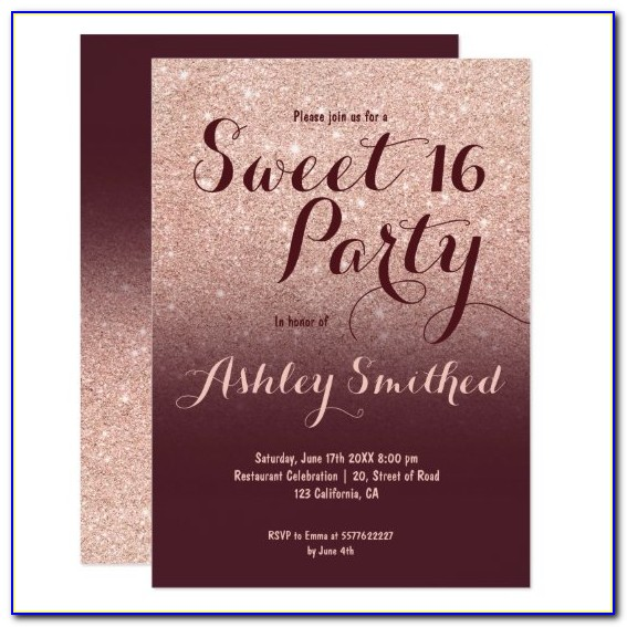 Burgundy Birthday Invitations