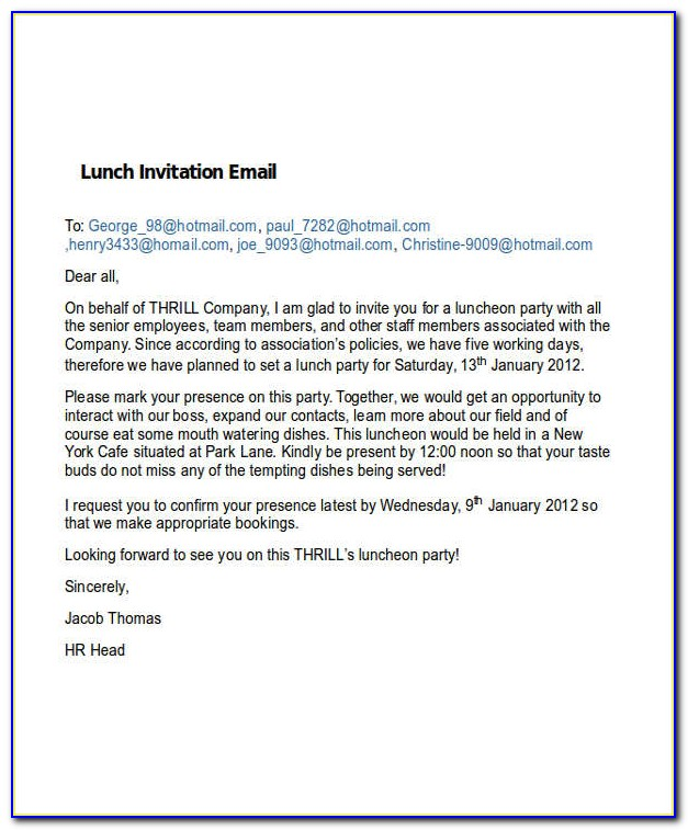 Business Lunch Invitation Email Example