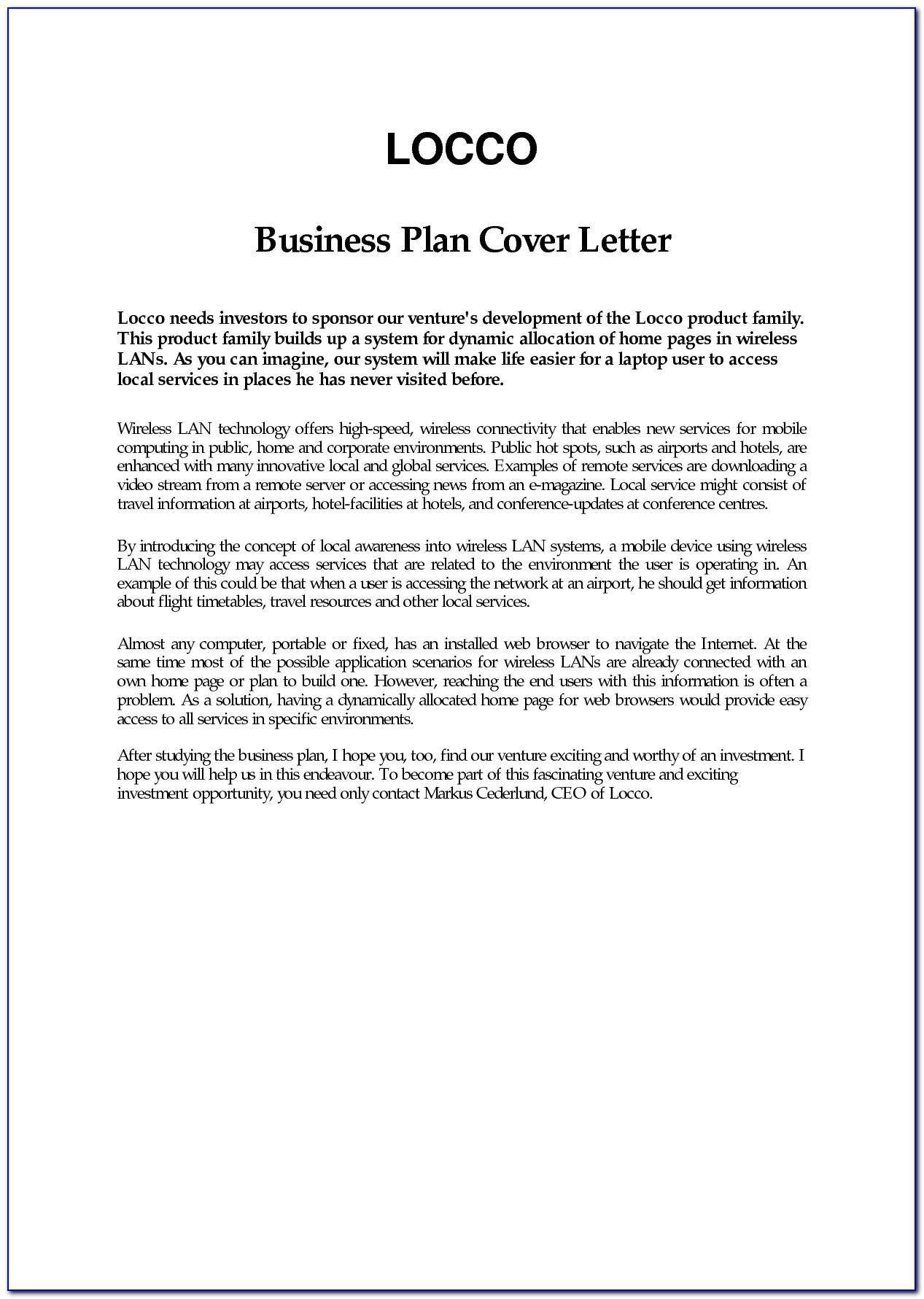 Business Plan Letter Example