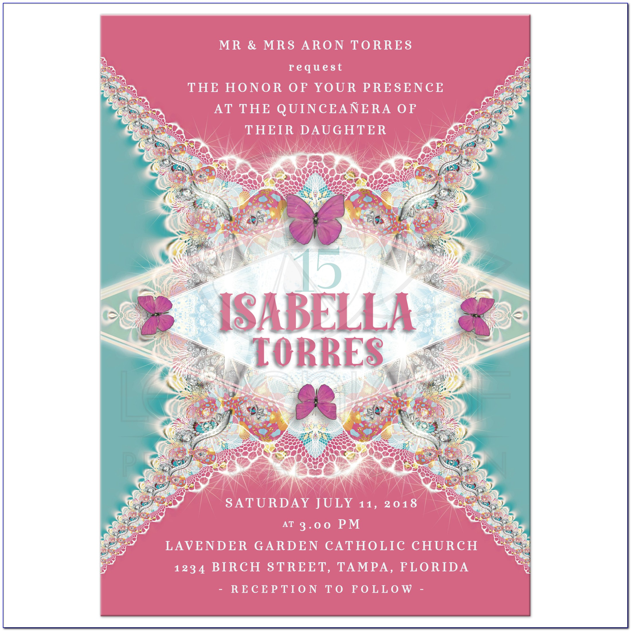 Butterfly Quince Invitations