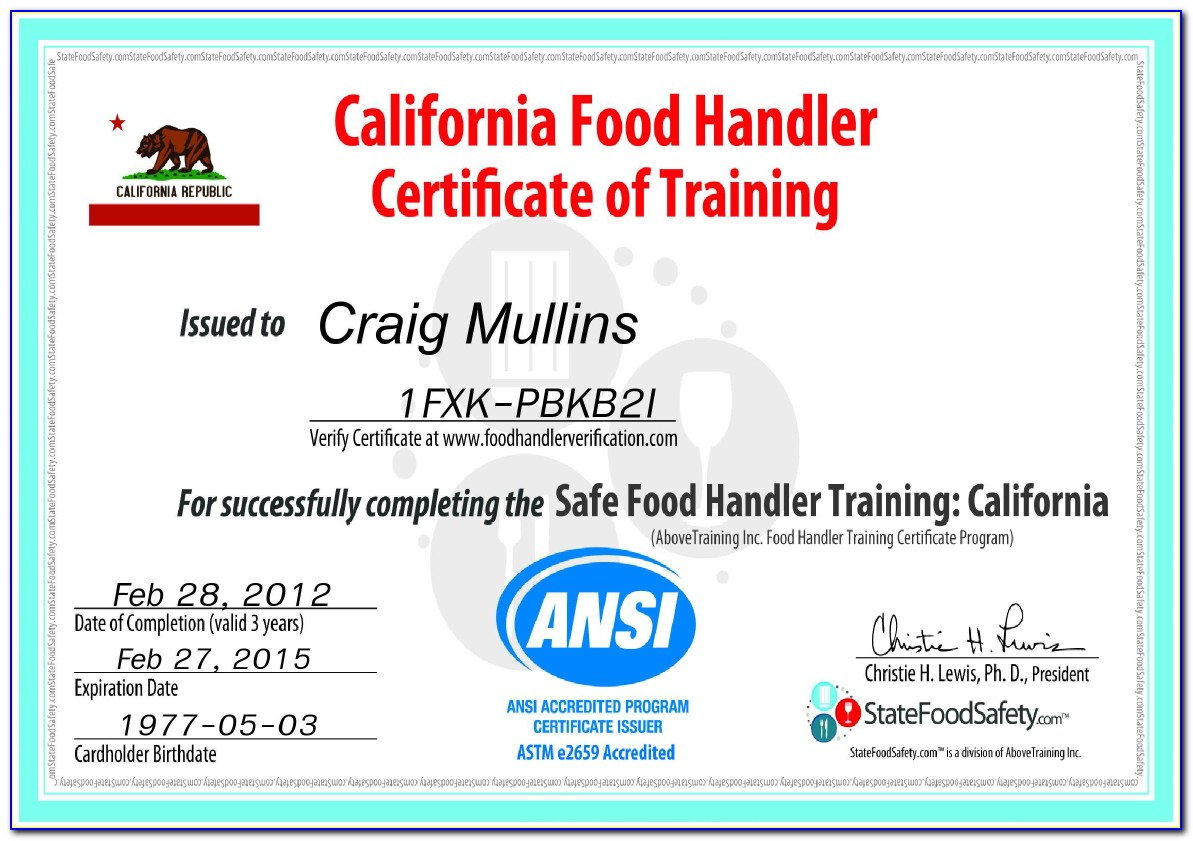 California Approved Food Handler Certification