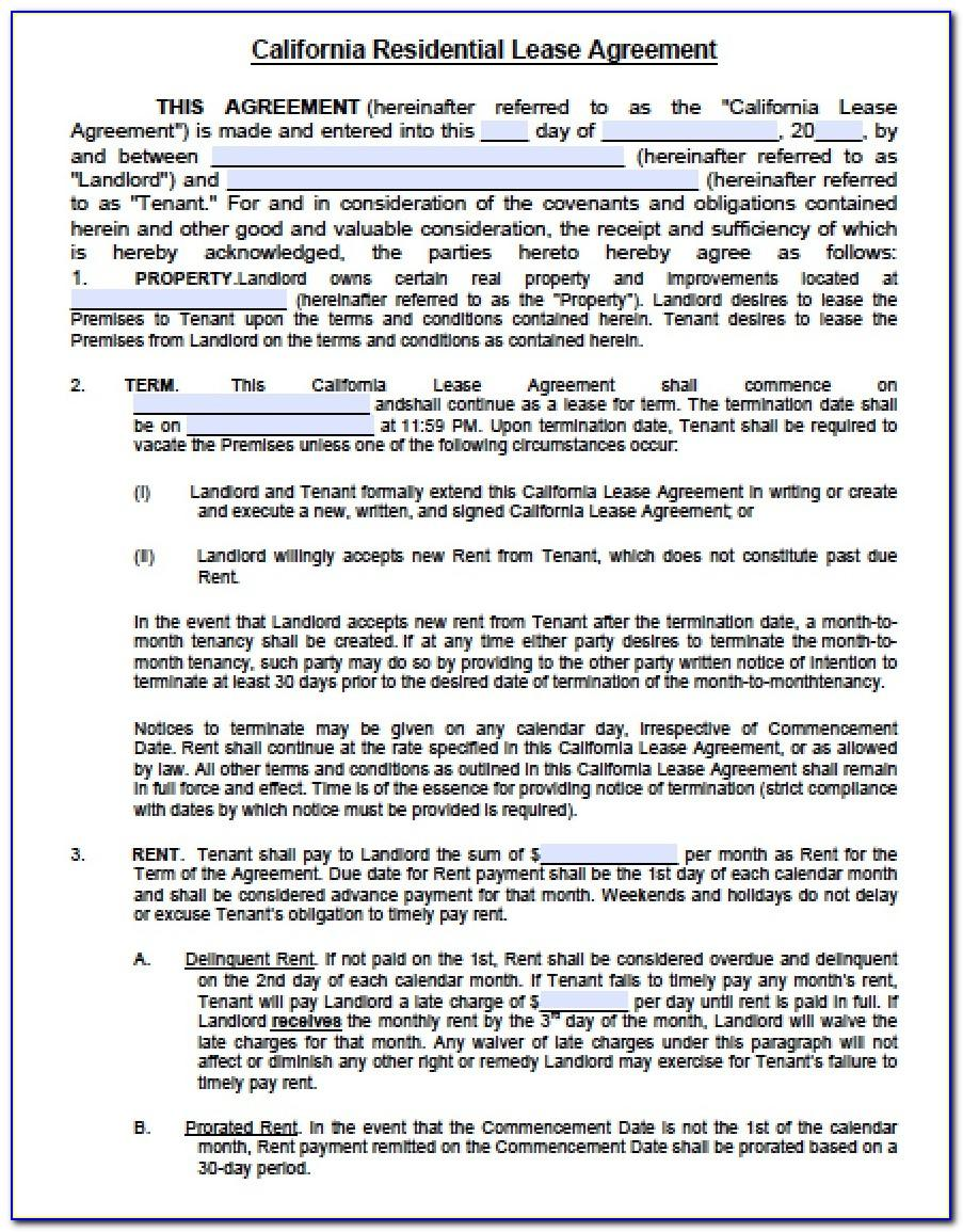 California Rental Agreement Forms