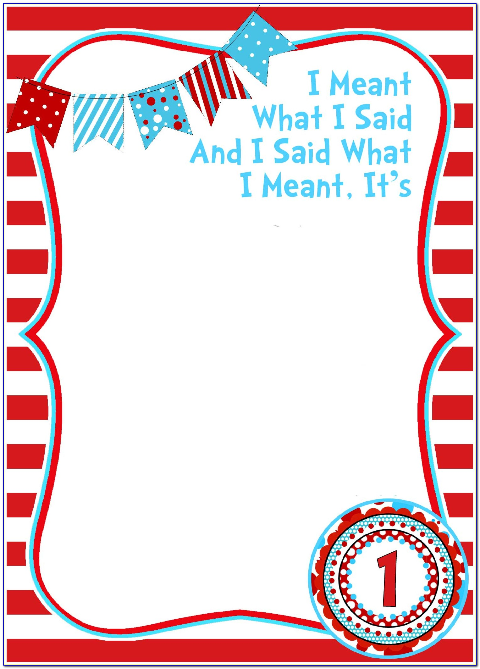Cat In The Hat Birthday Party Invitations