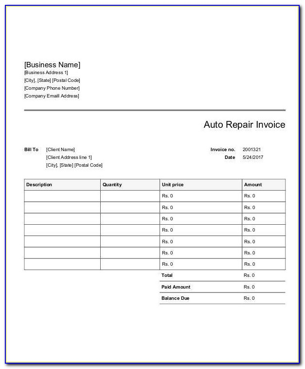 Catering Invoice Format