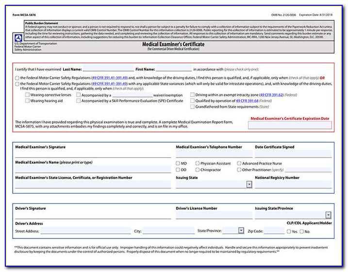 Cdl Medical Examiners Certificate Form Texas