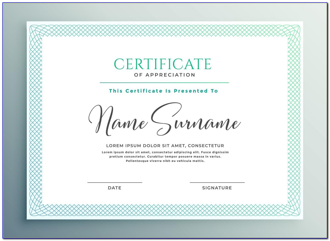 Certificate Of Appreciation Samples