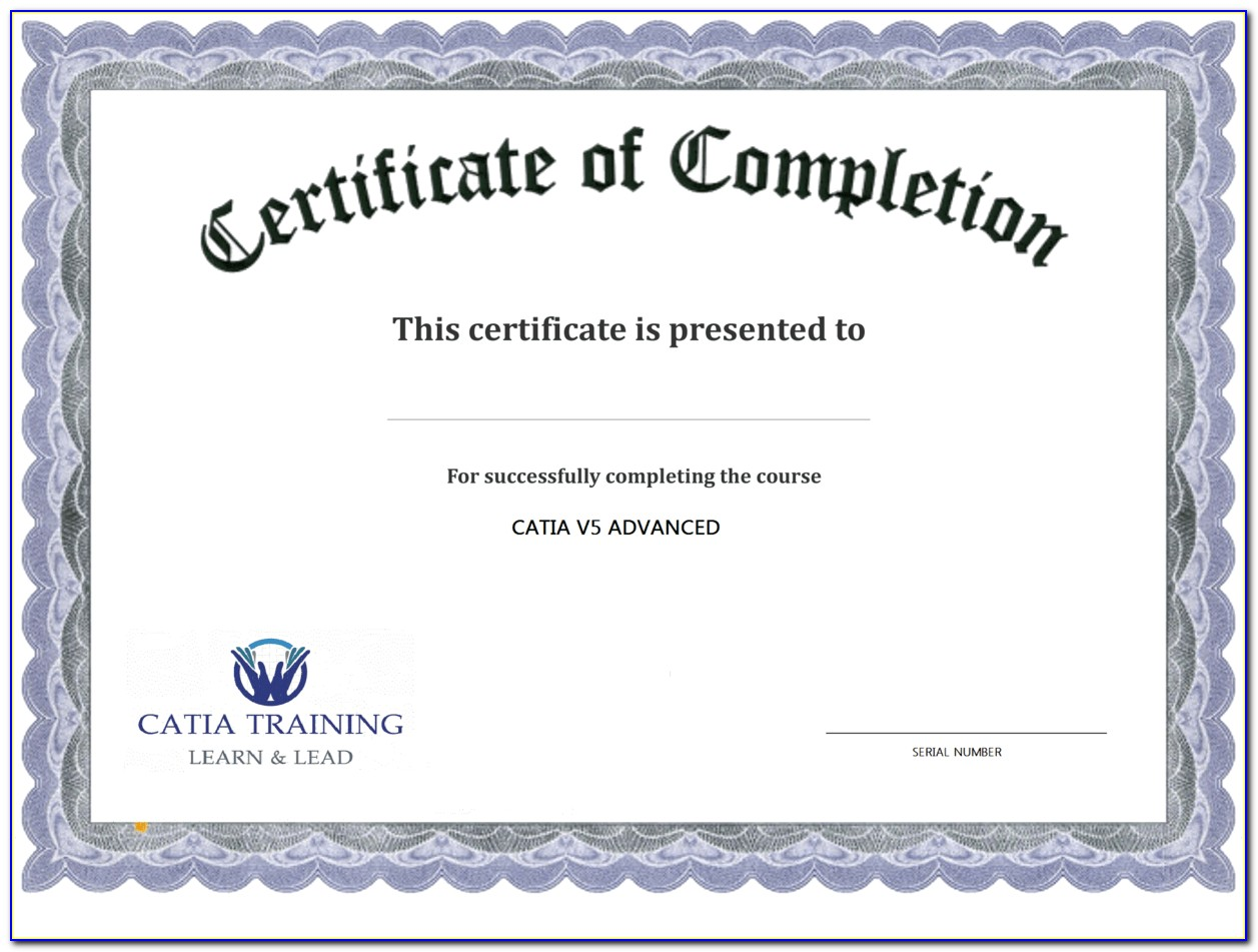 Certificate Of Completion Template Word Free Download