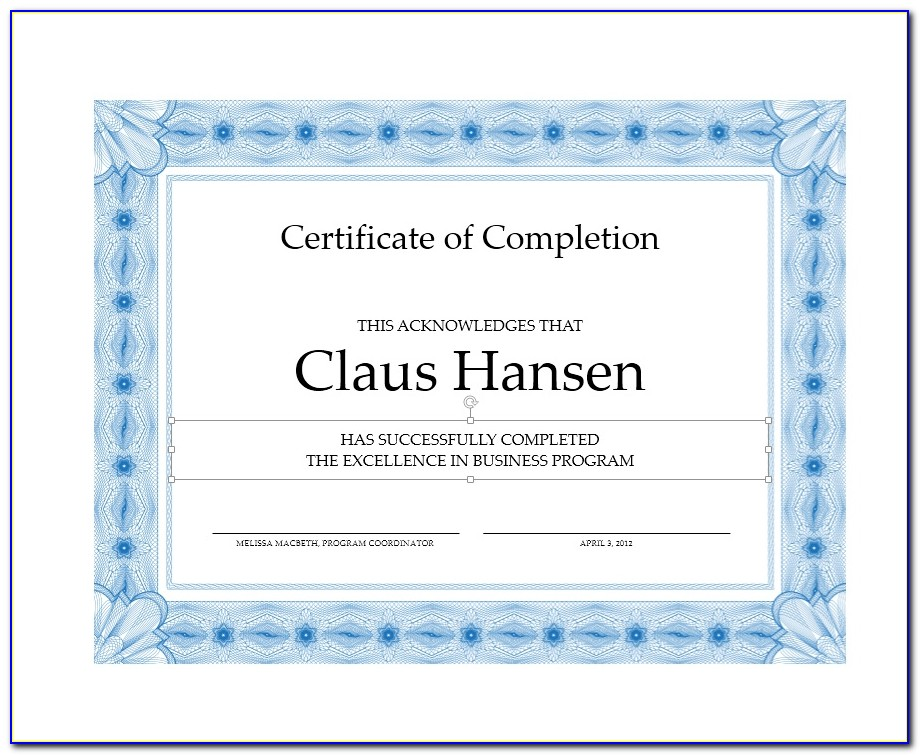 Certificate Of Course Completion Template Word
