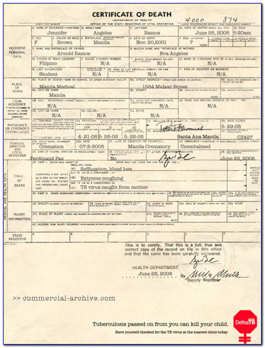Certificate Of Fetal Death Philippines Form
