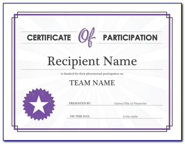 Certificates Of Participation Templates Free