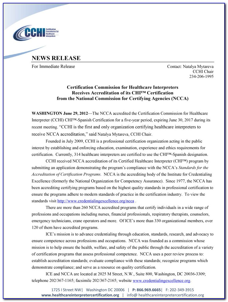 Certification Commission For Healthcare Interpreters Phone Number