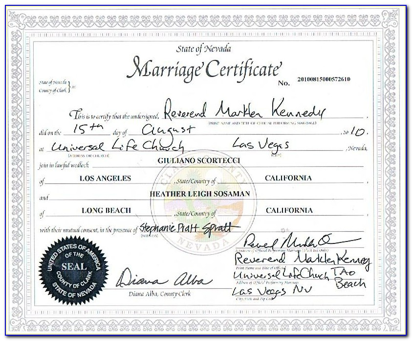 Certified Marriage Certificate Las Vegas Nevada