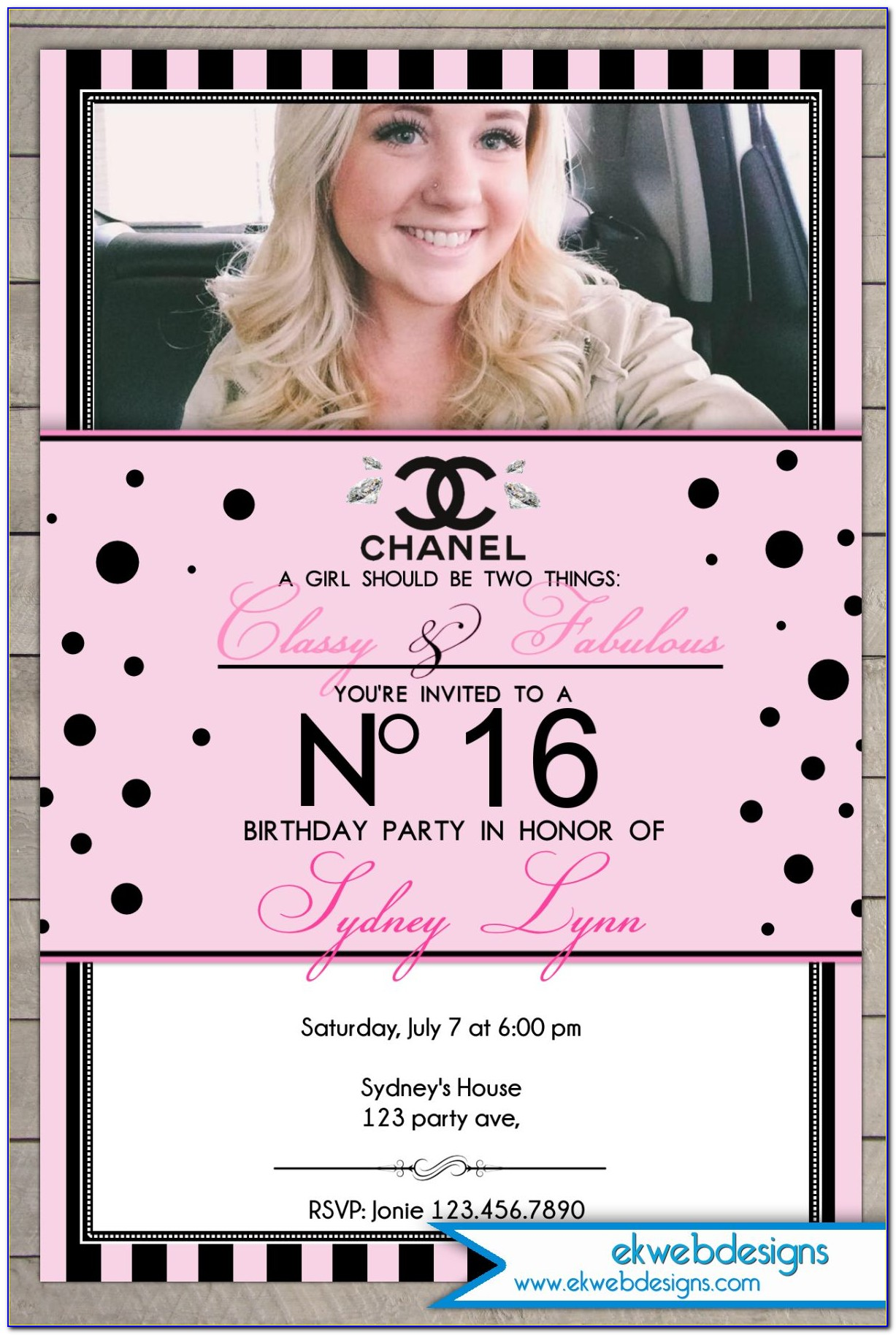 Chanel Sweet 16 Party Invitations