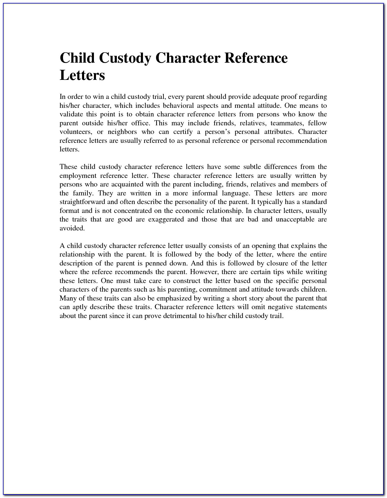 Character Reference Letter For Court Child Custody Grandparents
