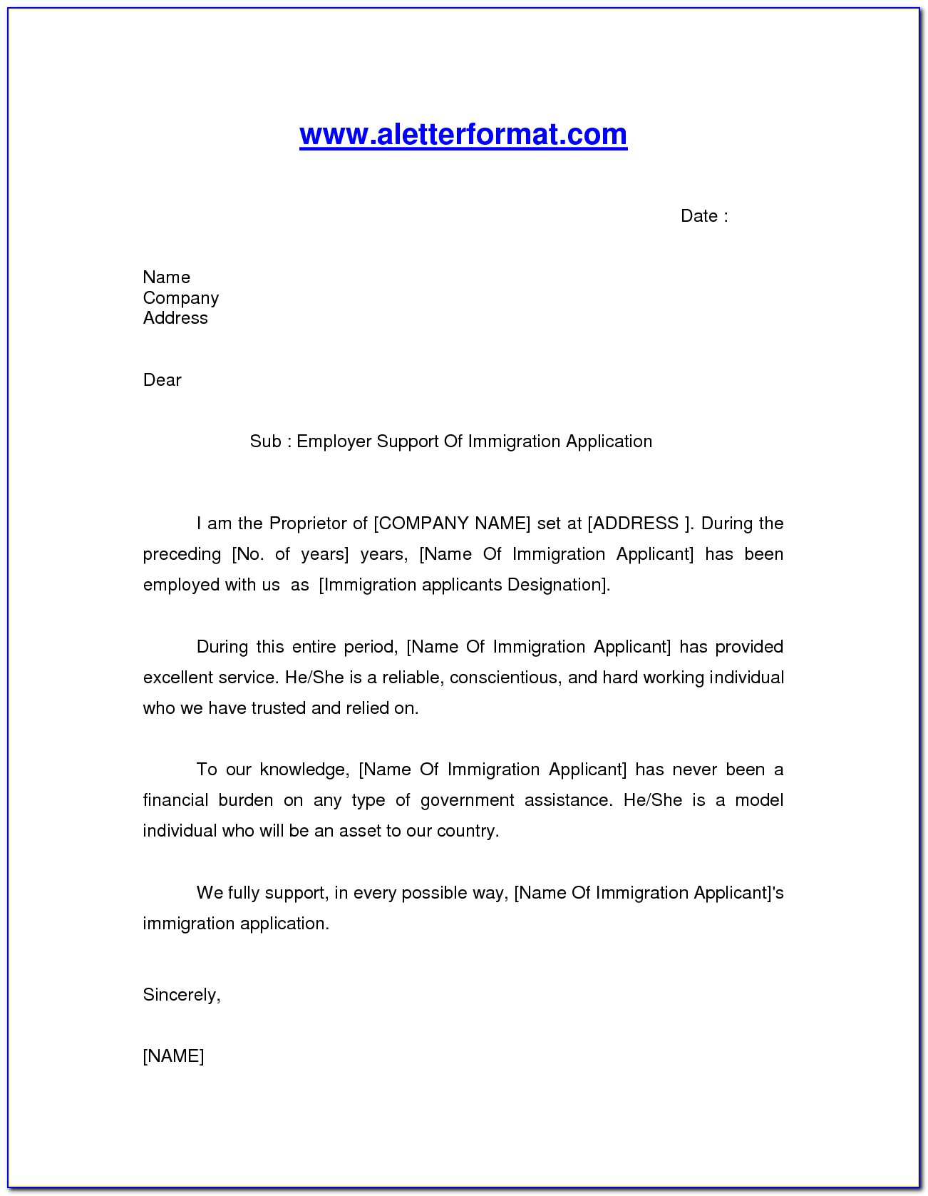 Character Reference Letter For Immigration Australia