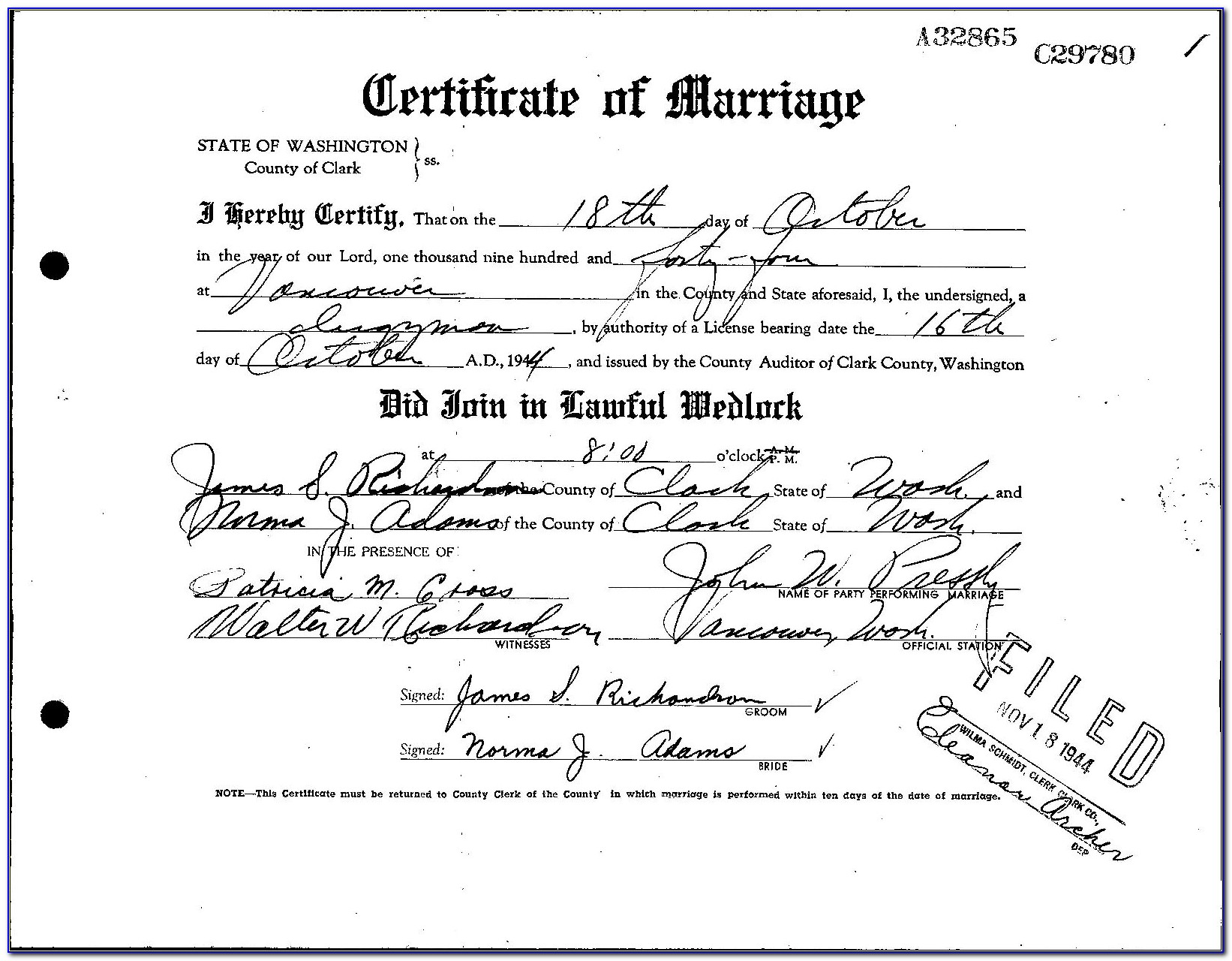 Clark County Vancouver Wa Marriage License