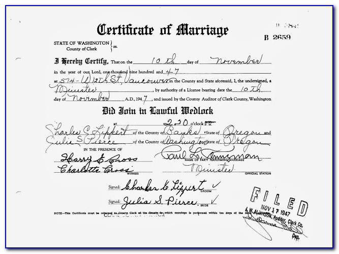 Clark County Wa Marriage License Copy