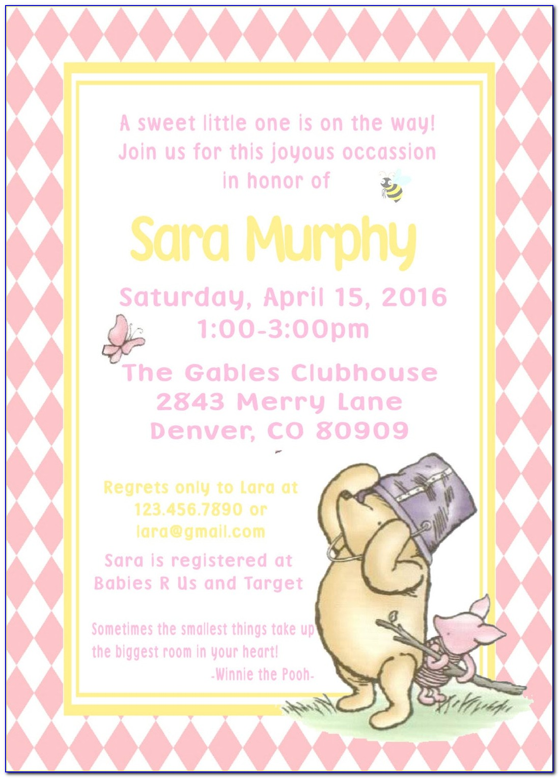 Classic Winnie The Pooh Baby Shower Invitations Free