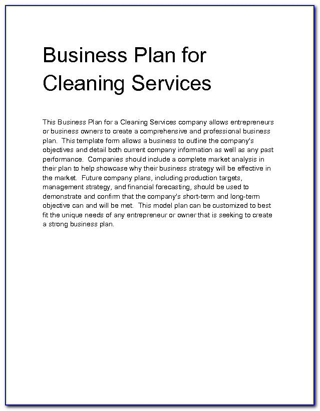 Cleaning Services Business Plan Template
