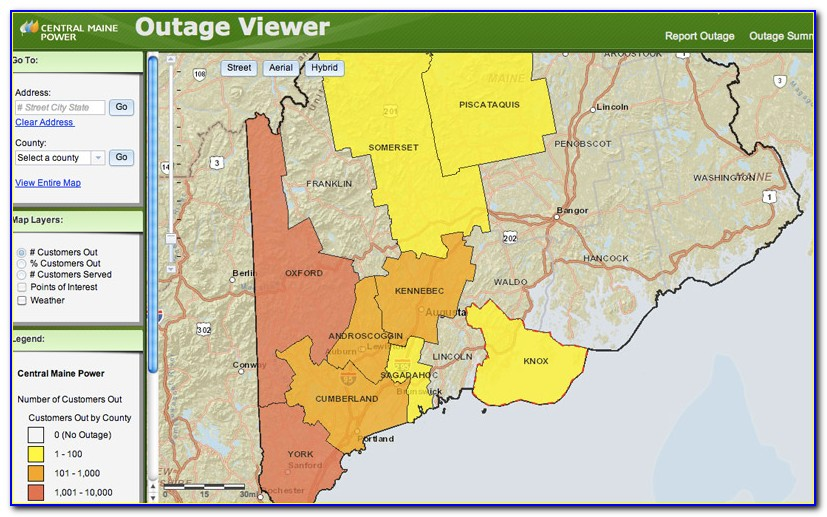 Cmp Outage Map By County