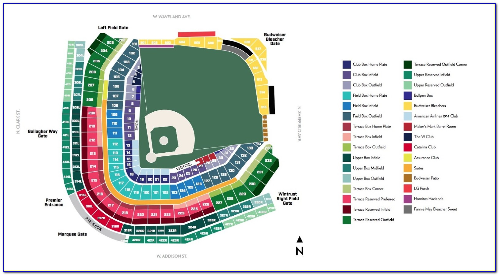 Wrigley Field Ticket Map