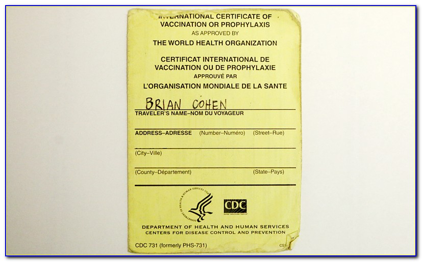Yellow Fever Certificate Replacement
