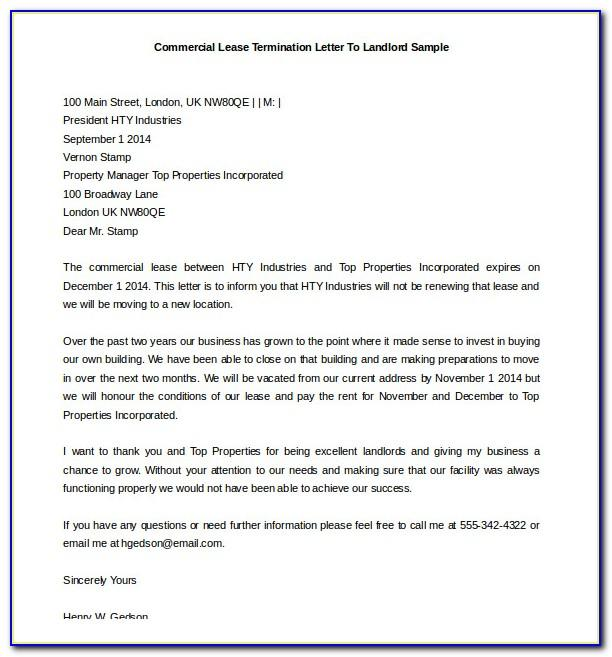 Commercial Lease Termination Letter To Landlord Sample
