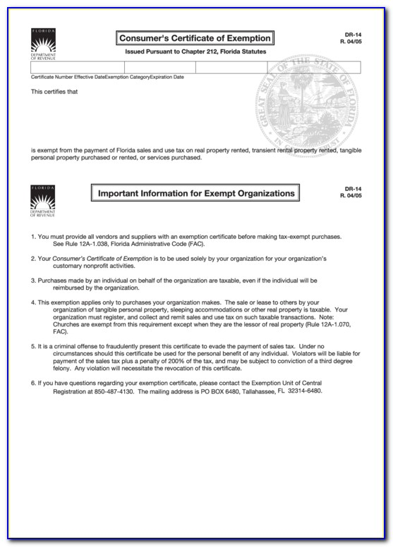Consumers Certificate Of Exemption Florida
