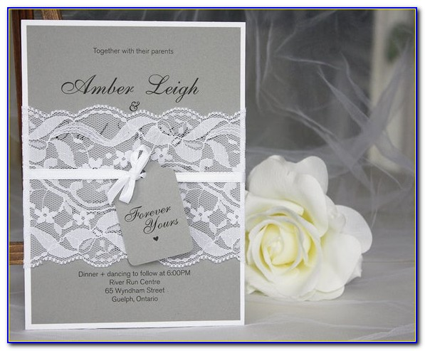 Coral Grey And White Wedding Invitations