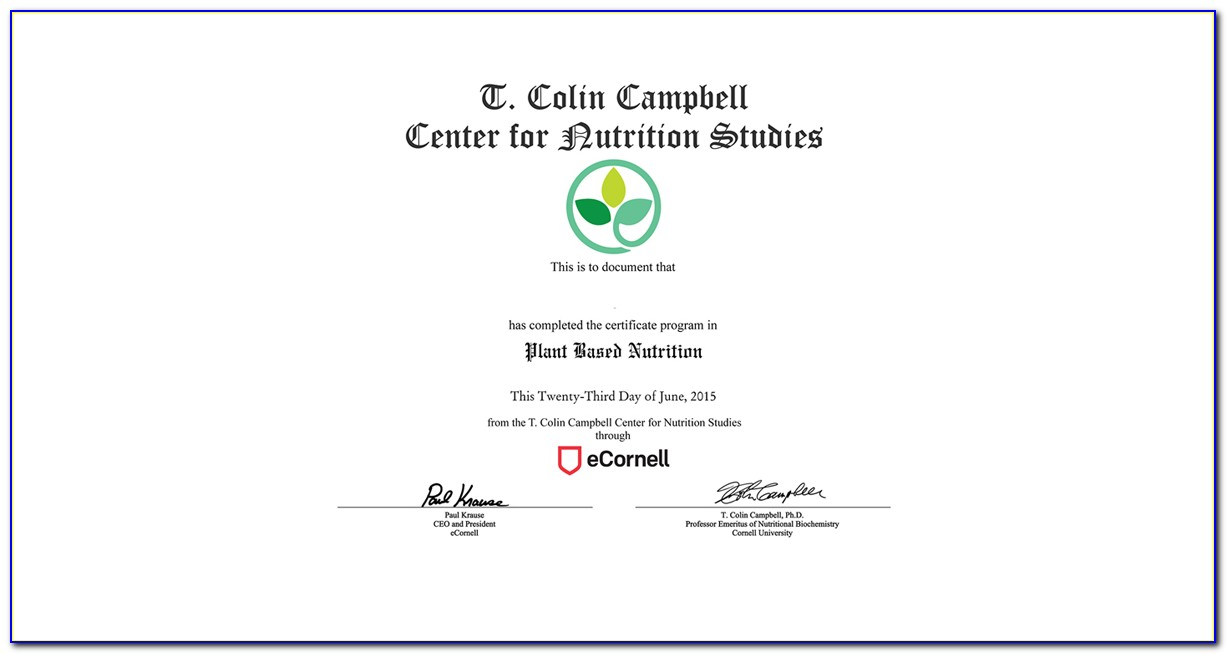Cornell Nutrition And Healthy Living Certificate Cost