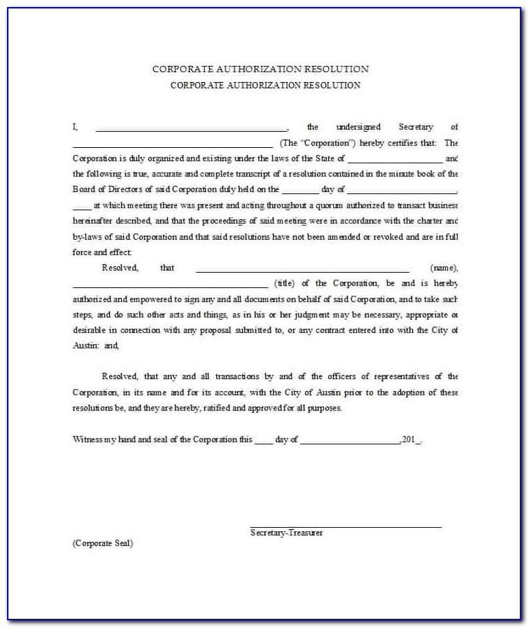 Corporate Resolutions Template