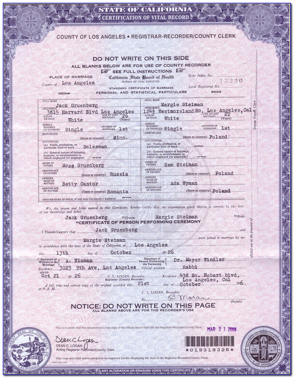 County Of Los Angeles Registrar Recorder Marriage License