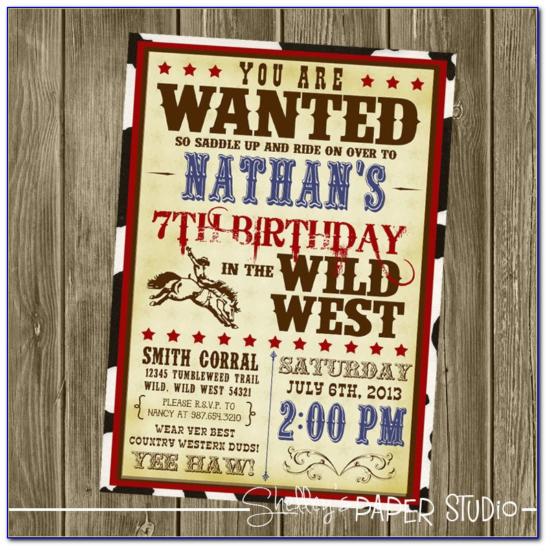 Cowboy Party Invite Sayings