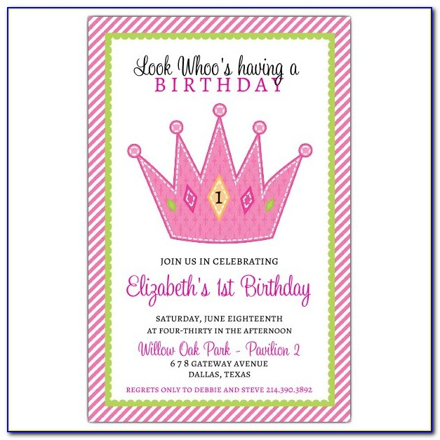 Crown 1st Birthday Party Invitations