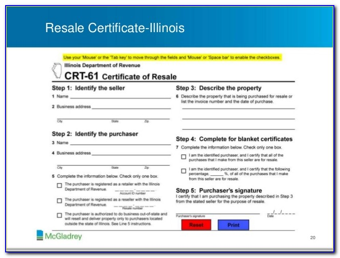 Crt 61 Certificate Of Resale Form
