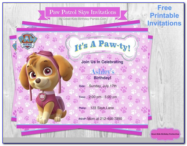 Customize Paw Patrol Party Invitations