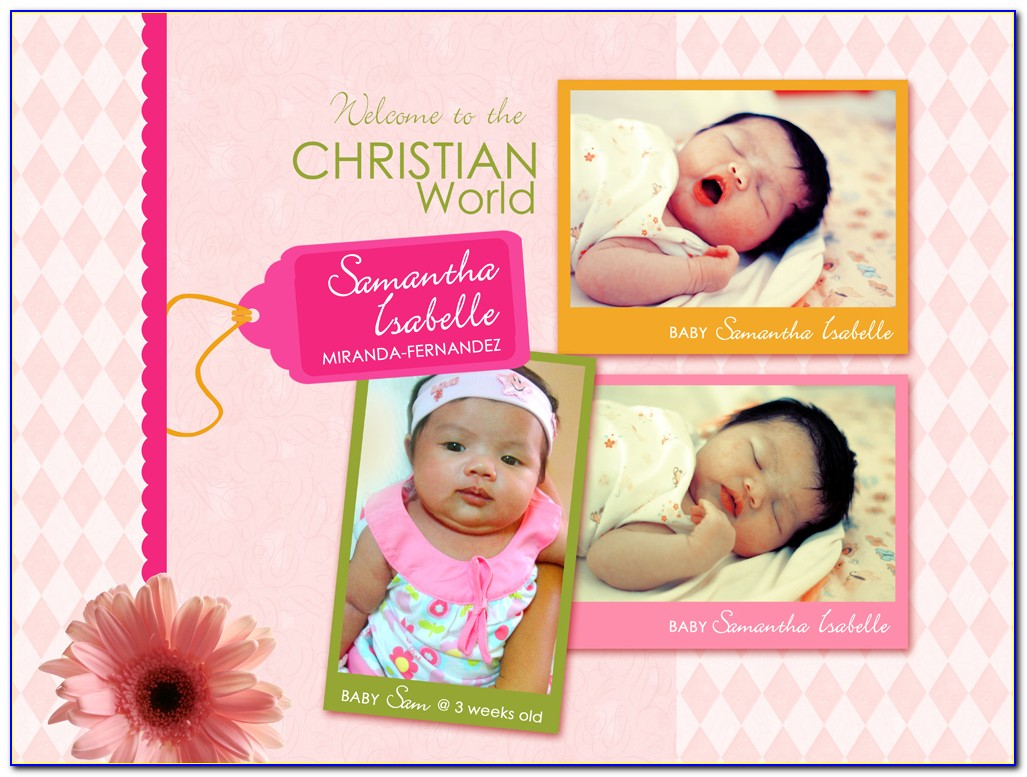 Cute Baptism Invitation For Baby Girl