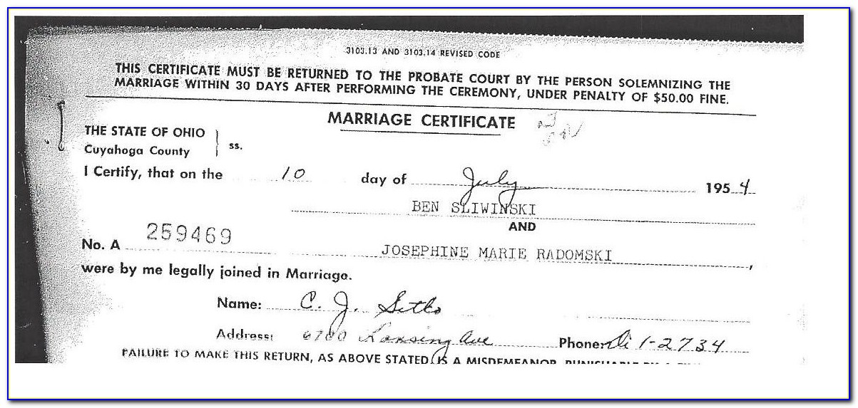 Cuyahoga County Marriage License Docket