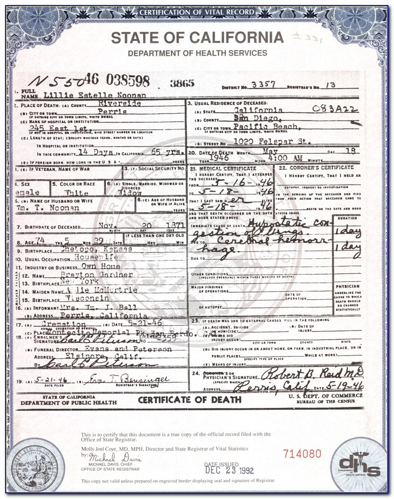 Death Certificate Search By Ssn