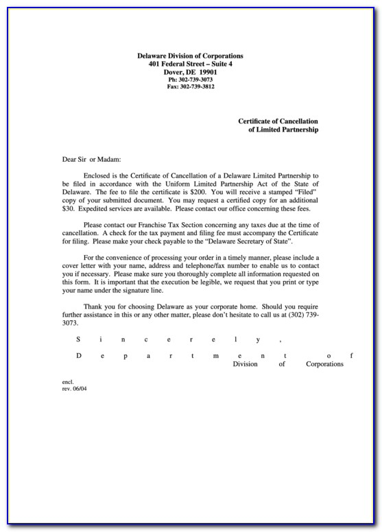 Delaware Certificate Of Cancellation Limited Partnership