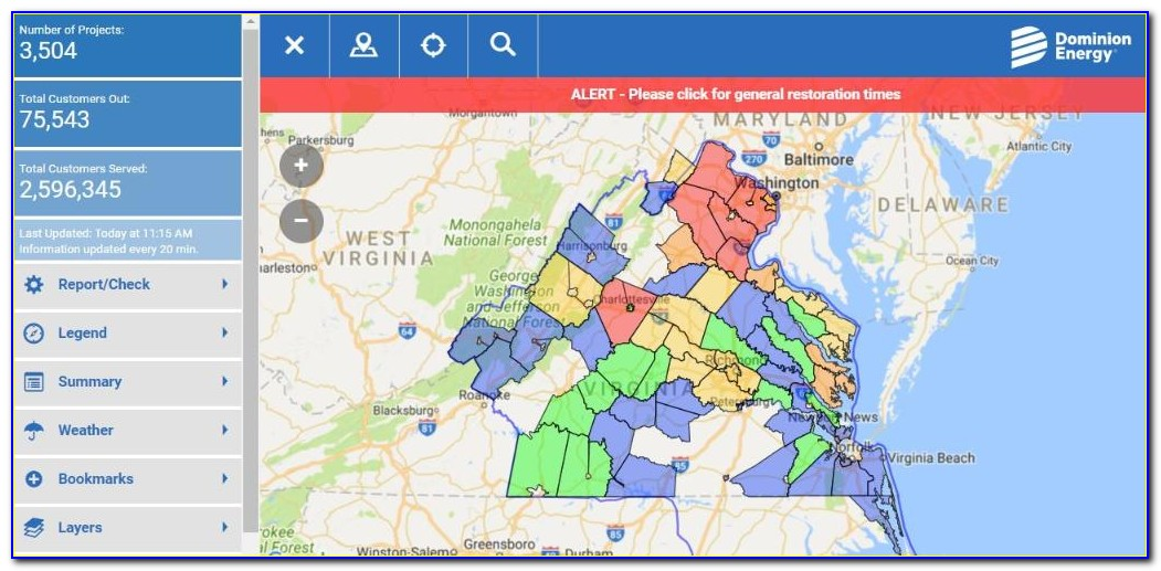 Dominion Northern Virginia Power Outage Map