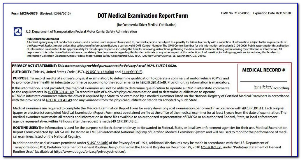 Dot Medical Examiners Certificate Expiration