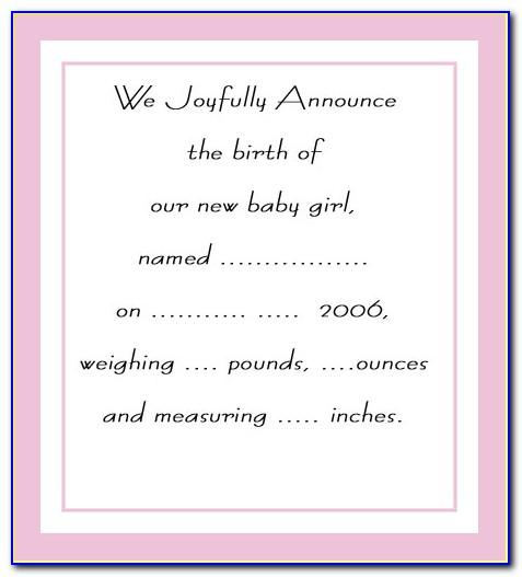Downloadable Baby Birth Announcement Template