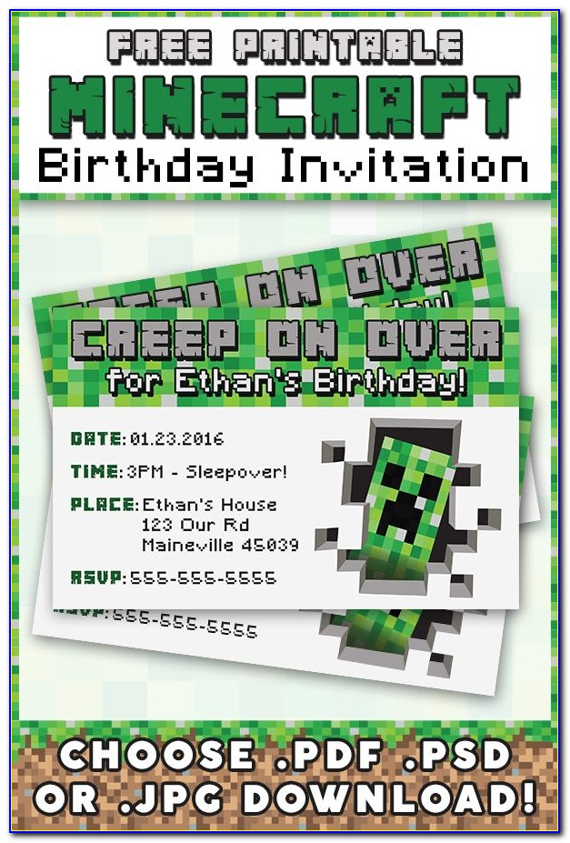 Downloadable Free Personalized Minecraft Birthday Invitations