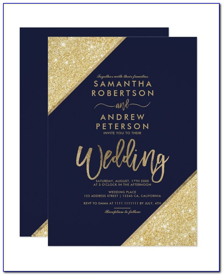 Dusty Blue And Gold Wedding Invitations