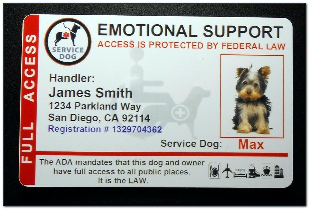 Emotional Support Dog Id Card Template