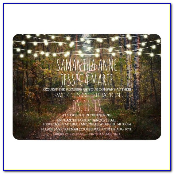 Enchanted Forest Sweet 16 Invitations