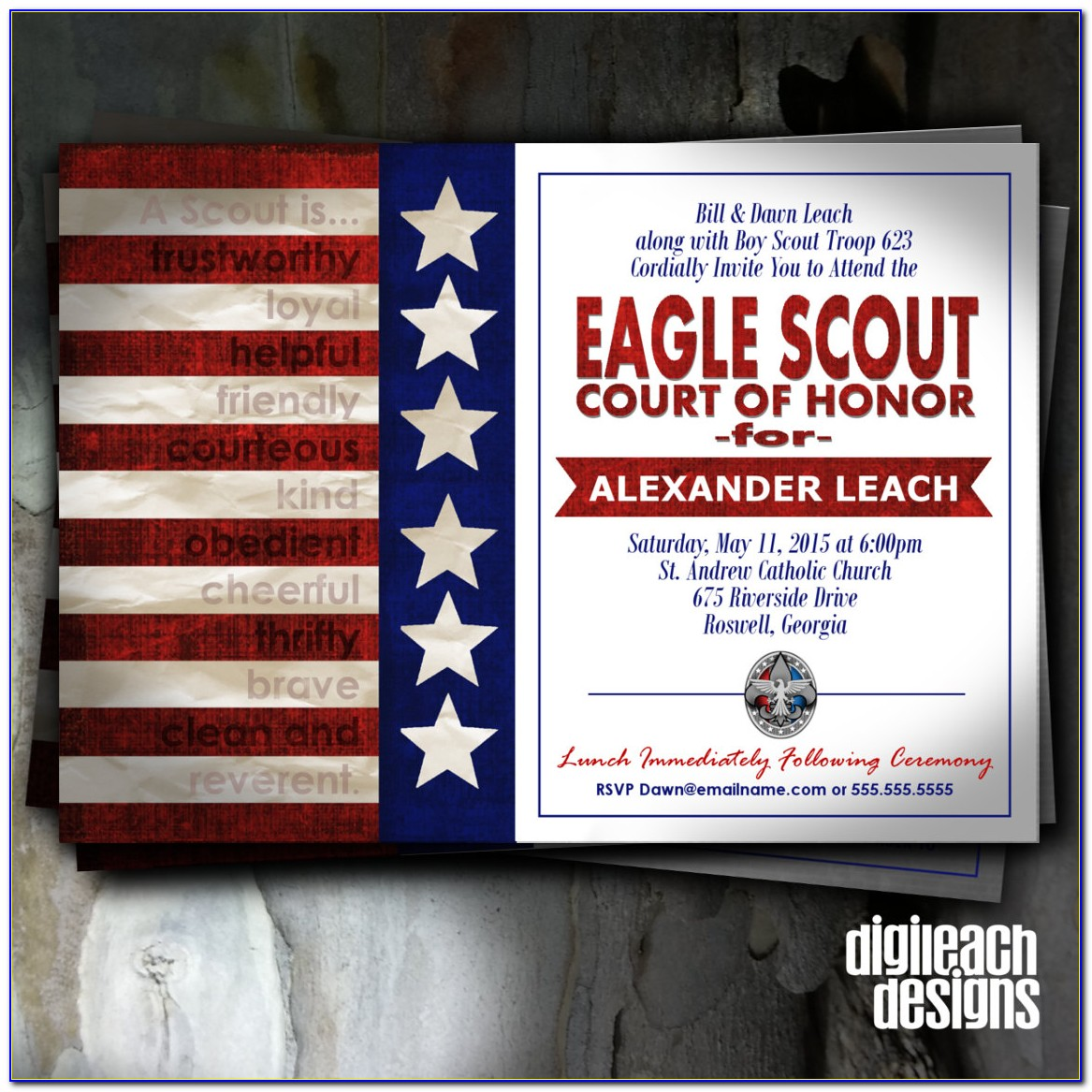 Etsy Eagle Scout Court Of Honor Invitations