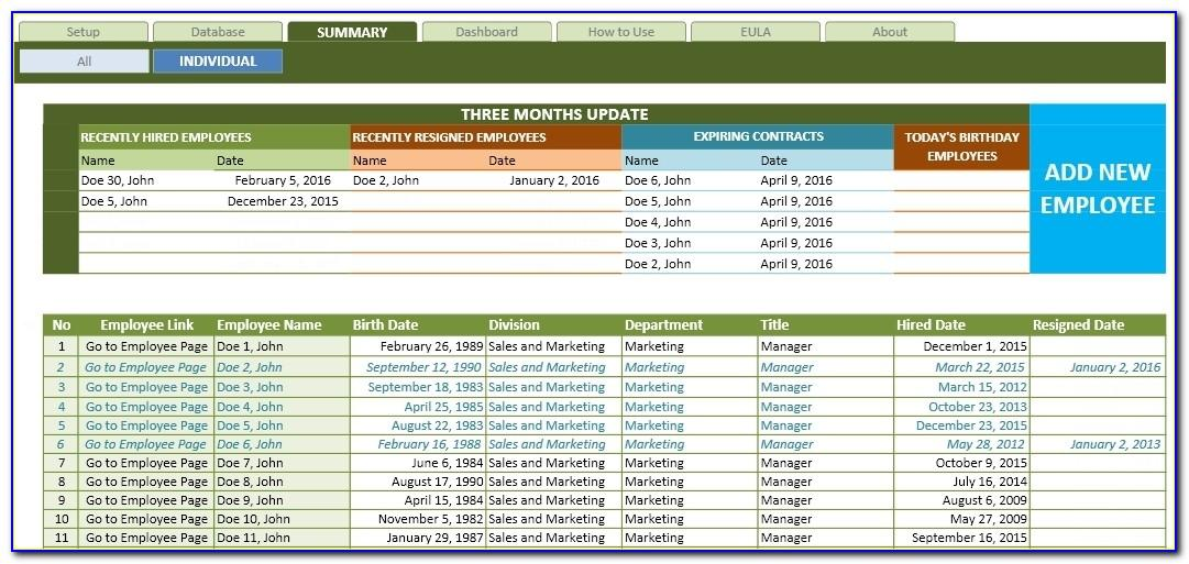 Excel Database Template Download Free
