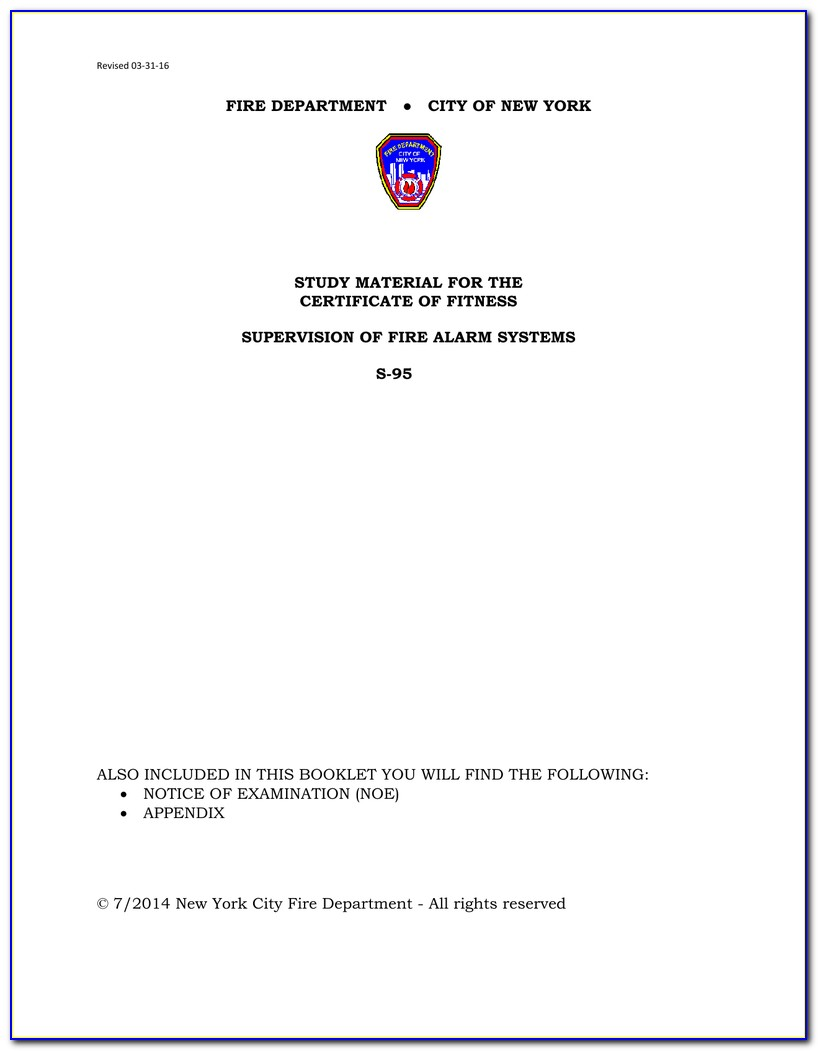 Fdny Certificate Of Fitness S95